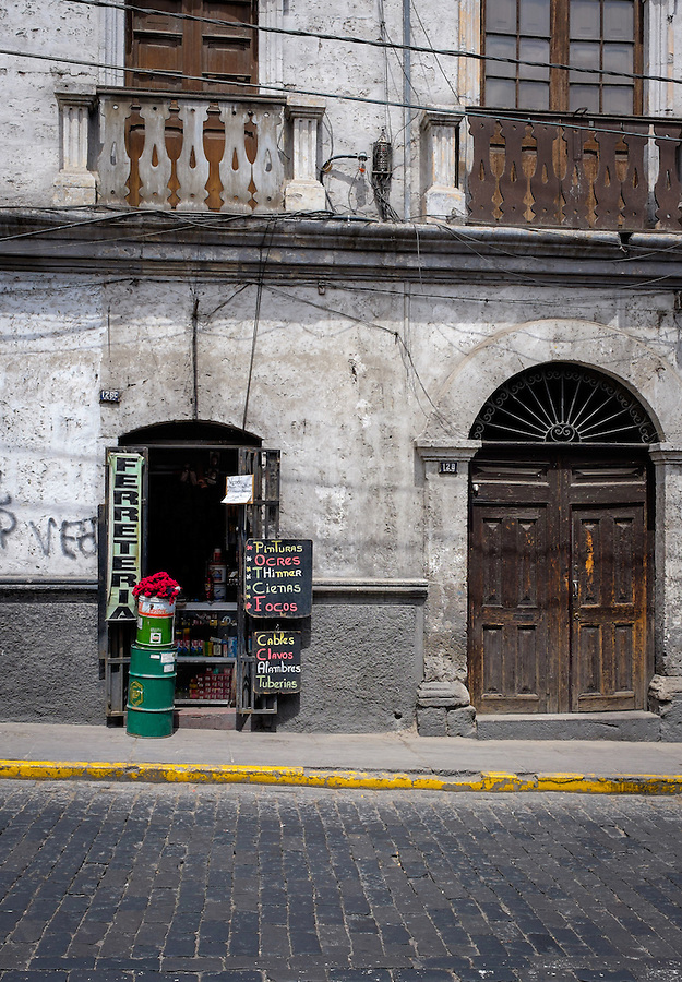 AREQUIPA, PERU - CIRCA APRIL 2014: Typical storefront in Arequipa. Arequipa is the Second city of Perú by population with 861,145 inhabitants and is the second most industrialized and commercial city of Peru.