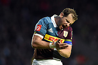 Nick Evans of Harlequins celebrates. Aviva Premiership match, between Harlequins and Wasps on April 28, 2017 at the Twickenham Stoop in London, England. Photo by: Patrick Khachfe / JMP