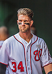 15 May 2016: Washington Nationals outfielder Bryce Harper walks the dugout during a game against the Miami Marlins at Nationals Park in Washington, DC. The Marlins defeated the Nationals 5-1 in the final game of their 4-game series.  Mandatory Credit: Ed Wolfstein Photo *** RAW (NEF) Image File Available ***
