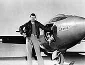Captain Charles E. Yeager (shown standing next to the United States Air Force's Bell-built X-1 supersonic research aircraft) became the first man to fly faster than the speed of sound in level flight on October 14, 1947..Credit: U.S. Air Force via CNP