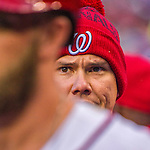 7 April 2016: Washington Nationals catcher Jose Lobaton wears a knitted cap in the dugout during the Nationals' Home Opening Game against the Miami Marlins at Nationals Park in Washington, DC. The Marlins defeated the Nationals 6-4 in their first meeting of the 2016 MLB season. Mandatory Credit: Ed Wolfstein Photo *** RAW (NEF) Image File Available ***
