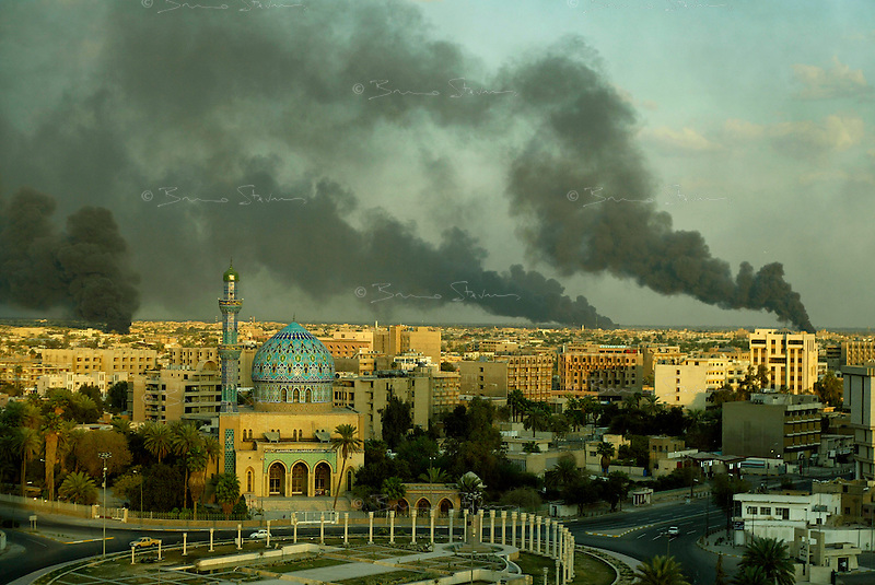 Baghdad, Iraq, March 22, 2003.Oil fires surround Baghdad in an attempt by the Iraqi army to prevent or disrupt US air strikes.