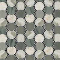 Ernest, a natural stone waterjet and hand cut mosaic, is shown in Verde Alpi (t), Alba Chiara and Kay's Green (p).