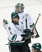 Brandon Gentile (Michigan State - Clarkston, MI) celebrates with Jeff Lerg (Michigan State - Livonia, MI) (Kennedy). The Michigan State Spartans defeated the University of Maine Black Bears 4-2 in their 2007 Frozen Four semi-final on Thursday, April 5, 2007, at the Scottrade Center in St. Louis, Missouri.
