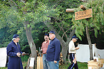 Old Bethpage, New York, USA - July 21, 2012: PAUL PATTI of Merrick, NY (far right) portrays Commissary Cook of 3rd Regimemt New Hampshire Volunteers, at Old Bethpage Village Restoration, to commemorate 150th Anniversary of American Civil War, on Saturday, July 21, 2012.
