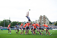 Elliott Stooke of Bath Rugby rises high to win lineout ball. Aviva Premiership match, between Bath Rugby and Newcastle Falcons on September 10, 2016 at the Recreation Ground in Bath, England. Photo by: Patrick Khachfe / Onside Images