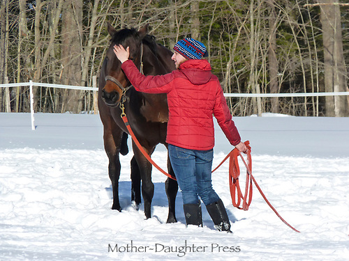 Young woman strokes the nose of her quarterhorse in snowy field, Maine, USA