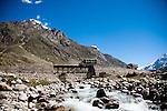 Army trucks cross a bridge in Lahaul valley, Himachal Pradesh, India