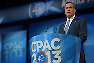 March 14, 2013  (National Harbor, Maryland)  Former Republican presidential candidate Mitt Romney addresses attendees of the 2013 Conservative Political Action Conference (CPAC) in National Harbor, MD.  (Photo by Don Baxter/Media Images International)