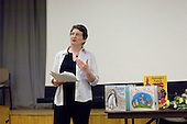Elizabeth Atkinson showing children's books dealing with same sex relationships, at the Sex & Relationships Education Conference at the Institute of Education, London.