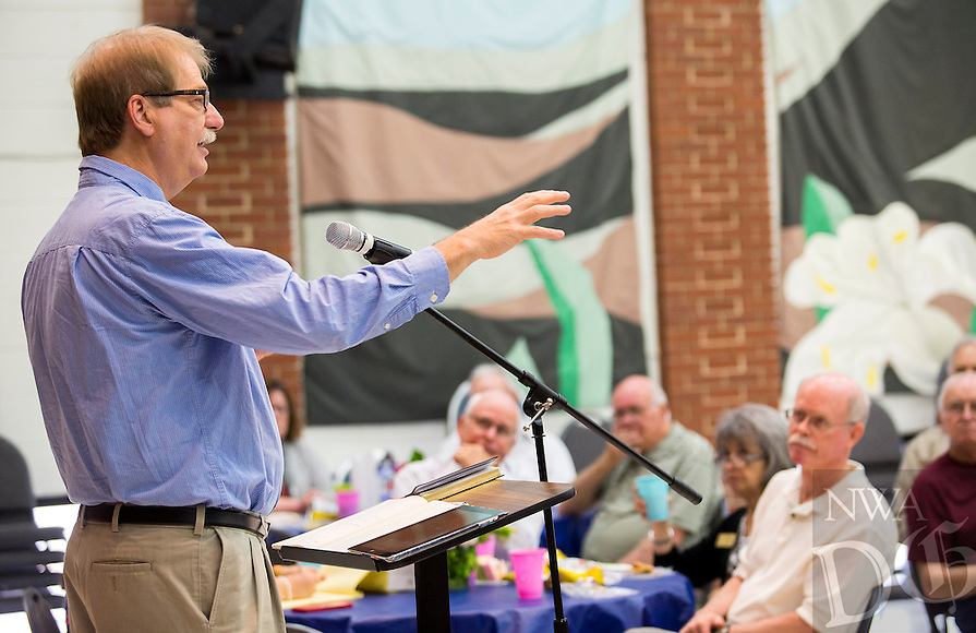 NWA Democrat-Gazette/JASON IVESTER<br /> Methodist Bishop Kenneth H. Carter Jr. of Florida speaks on Monday, April 25, 2016, about &ldquo;God&rsquo;s creation&rdquo; as it relates to Earth Day at First United Methodist Church in Rogers.