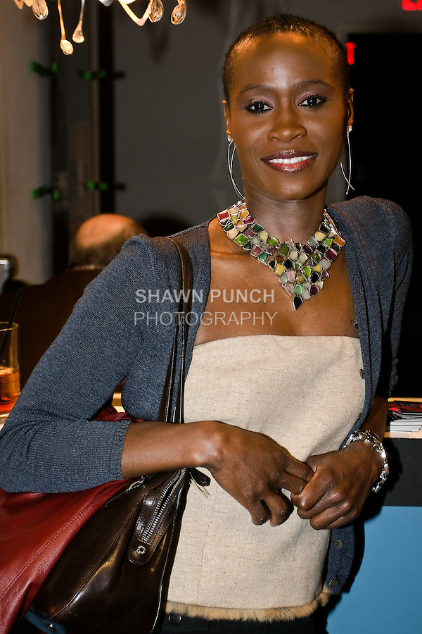 Deborah Pierre poses at Pre-NFL draft celebrity ping pong charity tournament, at Spin New York, April 19, 2010.