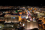 Aerial night view of Las Vegas Strip, Nevada, NV, Las Vegas Strip, city at night, nightscape, aerial, Photo nv251-18021..Copyright: Lee Foster, www.fostertravel.com, 510-549-2202,lee@fostertravel.com