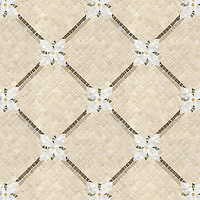 Flower Lattice, a hand-cut stone mosaic, shown in polished Verde Luna, Crema Valencia, Calacatta Tia, tumbled Crema Marfil, honed Montevideo, and Jura Gray. Design is 1 cm and background is 1.5 cm.