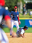 6 March 2010: Washington Nationals' infielder Alberto Gonzalez turns a double play during a Spring Training game against the New York Mets at Space Coast Stadium in Viera, Florida. The Mets defeated the Nationals 14-6 in Grapefruit League action. Mandatory Credit: Ed Wolfstein Photo