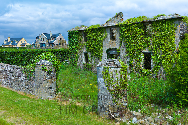Contrast new modern properties next to old derelict house in need of renovation at County Wexford, Ireland