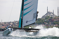 Extreme Sailing Series 2011. Act 3.Turkey . Istanbul..Team GAC Pindar skippered by Ian Williams with team mates Gilberto Nobili, Brad Webb and Jono Macbeth