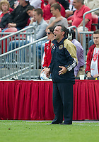 Philadelphia Union head coach Peter Nowak calls out instructions during an MLS game between the Philadelphia Union and the Toronto FC at BMO Field in Toronto on May 28, 2011..The Philadelphia Union won 6-2..
