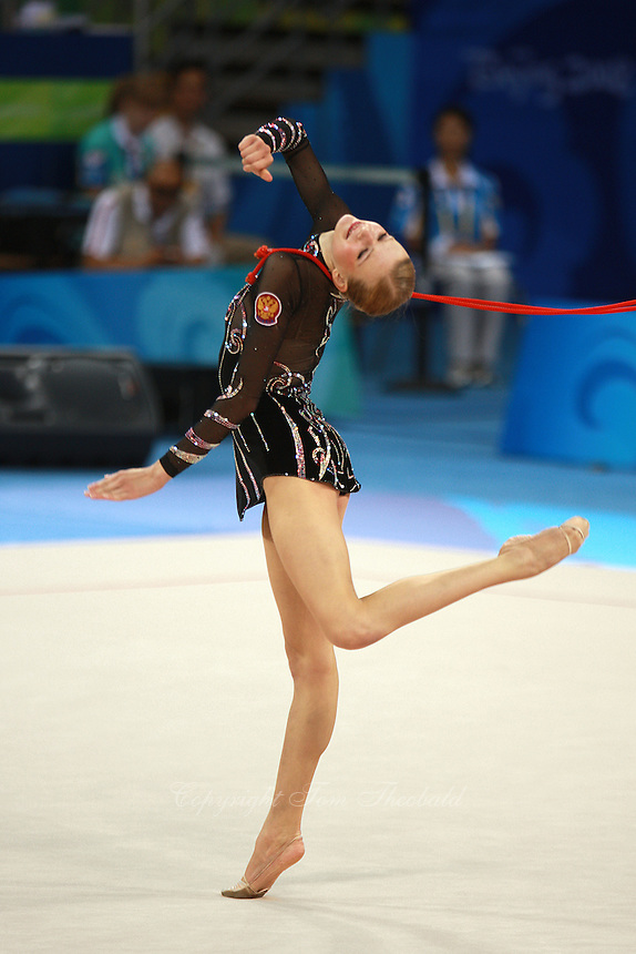 August 23, 2008; Beijing, China; Rhythmic gymnast Olga Kapranova of Russia performs with rope and went on to place 4th in the individual final at 2008 Beijing Olympics..