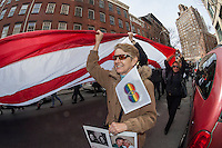 Pro-gay marriage advocates gather at the historic Stonewall Inn in Greenwich Village in New York on Sunday, March 24, 2013 to rally for marriage equality prior to the Defense of Marriage (DOMA) oral arguments in front of the US Supreme Court this week. The activists contend that DOMA unfairly denies federal protections to committed same=sex couples.  (© Richard B. Levine)