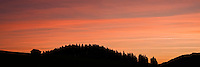 Silhouette of Barn and forest against colorful sky at sunrise, Allgäu, Bavaria, Germany