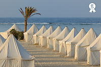 Tents on beach,  Red Sea, Egypt (Licence this image exclusively with Getty: http://www.gettyimages.com/detail/82406623 )