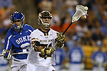 29 April 2016: Notre Dame's Brendan Collins (51) and Duke's John Prendergast (6). The University of Notre Dame Fighting Irish played the Duke University Blue Devils at Fifth Third Bank Stadium in Kennesaw, Georgia in a 2016 Atlantic Coast Conference Men's Lacrosse Tournament semifinal match. Duke won the game 10-9 in overtime.