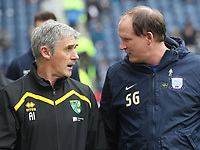 Preston North End's Manager Simon Grayson talks to Norwich City's Manager Alan Irvine<br /> <br /> Photographer Mick Walker/CameraSport<br /> <br /> The EFL Sky Bet Championship - Preston North End v Norwich City - Monday 17th April 2017 - Deepdale - Preston<br /> <br /> World Copyright &copy; 2017 CameraSport. All rights reserved. 43 Linden Ave. Countesthorpe. Leicester. England. LE8 5PG - Tel: +44 (0) 116 277 4147 - admin@camerasport.com - www.camerasport.com