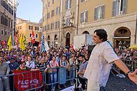 Roma 19 Maggio 2015<br /> Manifestazione dei lavoratori della scuola davanti a Montecitorio indetto da tutti i sindacati contro la riforma della scuola del governo Renzi soprannominata 'La Buona Scuola&quot;, gli insegnanti accusano il governo di agevolare la privatizzazione dell'istruzione. Piero Bernocchi dei Cobas Scuola<br /> Rome May 19, 2015<br /> Demonstration of school workers  in front of Deputies organized by all trade unions  against Renzi's school reform dubbed 'The Good School', teachers accuse of facilitating the privatisation of education. Piero Bernocchi COBAS School
