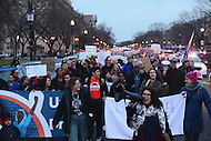 Washington, DC - February 11, 2017: Hundreds of people march through the streets of the District of Columbia near the White House February 11, 2017 for a protest, organized by United We Dream, against the latest immigration raids and deportations by U.S. Immigration and Customs Enforcement agents.  (Photo by Don Baxter/Media Images International)