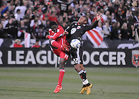 Chicago Fire forward Patrick Nyarko (14) defends the play against DC United defender Rodney Wallace (22). The Chicago Fire defeated DC United 2-0 at RFK Stadium, Saturday April 17, 2010.