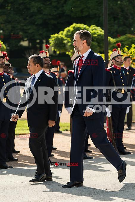 King Felipe VI and Queen Letizia of Spain receive the president of the republic of Per&uacute;, Sr. Ollanta Humala Tasso, y Sra. Nadine Heredia Alarc&oacute;n at El Pardo Palace in Madrid, Spain. July 07, 2015.<br />  (ALTERPHOTOS/BorjaB.Hojas)