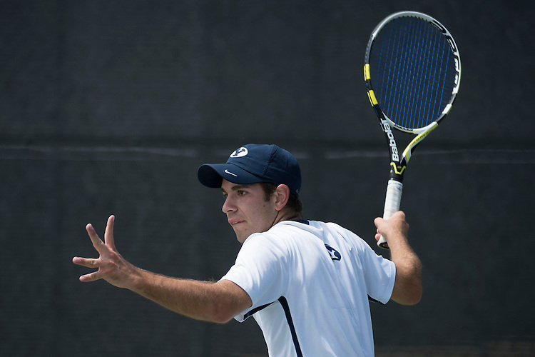April 27, 2013; San Diego, CA, USA; BYU Cougars player John Pearce during the WCC Tennis Championships at Barnes Tennis Center.