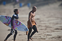 COCO with her father MICHAEL HO (HAW) surfing at 13th Beach, Barwon Heads, Victoria, Australia  Photo: joliphotos.com
