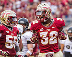 FSU running back James Wilder Jr. reacts in the end zone to his touchdown when the #2 ranked Florida State Seminoles defeated the Idaho Vandals 80-14 at Doak S Campbell Stadium in Tallahassee, Florida.