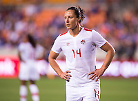 Houston, TX - February 19, 2016: Canada defeated Costa Rica 3-1 during the CONCACAF Women's Olympic Qualifying Tournament semifinals at BBVA Compass Stadium.  The win qualified the team for the 2016 Olympics in Brazil.