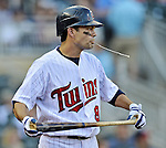 29 September 2012: Minnesota Twins infielder Jamey Carroll stands on deck during game action against the Detroit Tigers at Target Field in Minneapolis, MN. The Tigers defeated the Twins 6-4 in the second game of their 3-game series. Mandatory Credit: Ed Wolfstein Photo