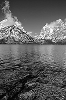 Grand Tetons - South Jackson Lake Waterline, WY - Black & White