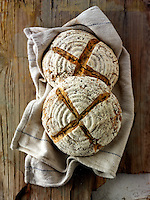 Artisan sour dough wholemeal seed bread with white, malted and rye flour