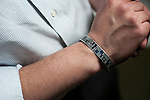 WATERBURY, CT- 23 May 2016-052316EC25-  Bryson Grove is an Army veteran. He wears a bracelet honoring Sgt. Jonathan K. Peney, 22, who was killed during combat in Afghanistan in 2010. Erin Covey Republican-American