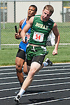 Borah senior Cody McKague comes off the corner during the YMCA Track and Field Invite 4x200 relay on April 28, 2012 at Rocky Mountain High School, Meridian, Idaho. Borah finished first (1:31.34) followed by Weiser (1:33.18) and Timberline (1:35.01).