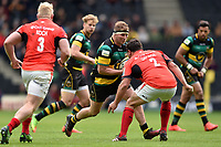 Dylan Hartley of Northampton Saints faces off against Jamie George of Saracens. Aviva Premiership match, between Northampton Saints and Saracens on April 16, 2017 at Stadium mk in Milton Keynes, England. Photo by: Patrick Khachfe / JMP