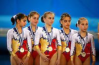 Portrait of Romanian juniors winning team silver at European Championships Artistic Gymnastics at Volos, Greece on April 28, 2006.<br />