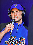 2 March 2010: New York Mets' third baseman David Wright is interviewed in the dugout prior to a game against the Atlanta Braves during the Opening Day of Grapefruit League play at Tradition Field in Port St. Lucie, Florida. The Mets defeated the Braves 4-2 in Spring Training action. Mandatory Credit: Ed Wolfstein Photo