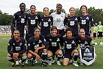 30 August 2009: WPS All-Star starting lineup: (front row)(l-r) Marta (10)(LA), Shannon Boxx (7)(LA), Amy LePeilbet (6)(BOS), Aya Miyama (18)(LA), Christie Rampone (3)(NJ); (back row)(l-r) Tina Ellertson (8)(STL), Cristiane (11)(CHI), Kristine Lilly (13)(BOS), Karina LeBlanc (23)(LA), Lori Chalupny (17)(STL), Megan Rapinoe (15)(CHI).  The WPS All-Star team defeated the visiting Umea IK 4-2 in the first annual post season All-Star game of the Women's Professional  Soccer league at Anheuser-Busch Soccer Park, in Fenton, MO.