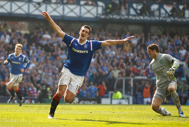 Lee Wallace celebrates his goal for Rangers