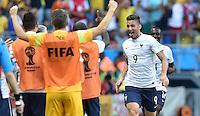 FUSSBALL WM 2014  VORRUNDE    GRUPPE E     Schweiz - Frankreich                   20.06.2014 Olivier Giroud (Frankreich) bejubelt seinen Treffer zum 0:1