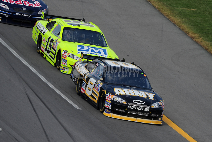 Oct 5, 2008; Talladega, AL, USA; NASCAR Sprint Cup Series driver Aric Almirola (8) leads teammate Paul Menard (15) during the Amp Energy 500 at the Talladega Superspeedway. Mandatory Credit: Mark J. Rebilas-