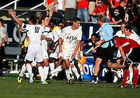 Players of the University of Akron at the end the 2010 College Cup final against the University of Louisville at Harder Stadium, on December 12 2010, in Santa Barbara, California. Akron champions, 1-0.
