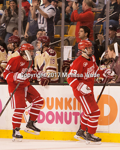 Patrick Curry (BU - 11), Jakob Forsbacka Karlsson (BU - 23) - The Boston University Terriers defeated the Boston College Eagles 3-1 in their opening Beanpot game on Monday, February 6, 2017, at TD Garden in Boston, Massachusetts.